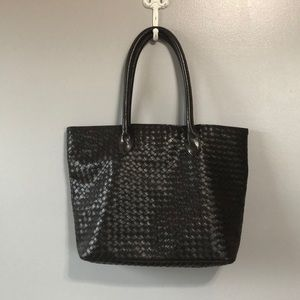 Nordstrom Brown Vegan Leather Woven Large Tote
